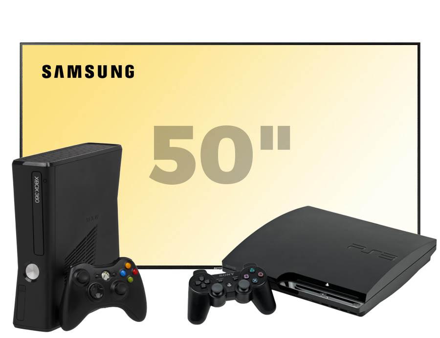 Old gen console + 2 controllers + 50 inch scherm huren